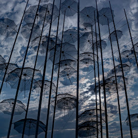 Umbrellas by Stratos Lales - Artistic Objects Other Objects ( clouds, sky, umbrellas, thessaloniki, sea, city )