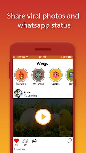 Wings: Share WhatsApp Status, Photos   earn money screenshot 1