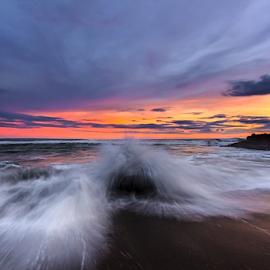 Sunset Splash by Choky Ochtavian Watulingas - Landscapes Beaches ( sand, sky, corals, seashore, splash, sunset, twilight, cloud, rock, beach, seascape )