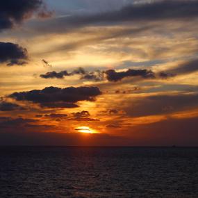 Golden Caribbean Sunset #1 by Tony Huffaker - Landscapes Sunsets & Sunrises ( caribbean, sunset, golden, clouds, sea )