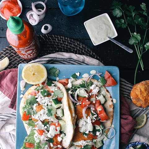 Baked Sweet Potato Falafel with Cilantro Yogurt