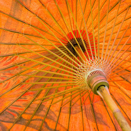 Open Japanese Umbrella in Orange by Ed & Cindy Esposito - Abstract Patterns ( orange, wood, oriental, decorative, authentic, colorful, umbrella, art, japanese, exotic, open, far east, design )