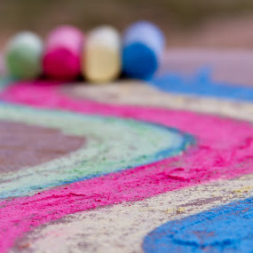 chalk wave by SumPics Photography - Artistic Objects Other Objects ( curve, chalk, red, blue, green, yellow, drawing, sidewalk )