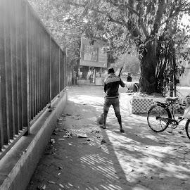 Streets of Kolkata by Aditya Sadhukhan - City,  Street & Park  Street Scenes ( kolkata, street, bnw, india, morning )