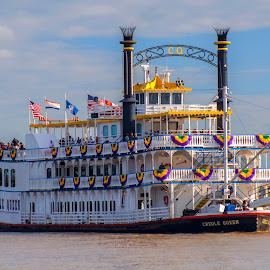 Old Man River and a Creole Queen by Wendy  Walters - Transportation Boats ( riverboat, new orleans, mississippi river, creole queen )