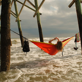 Girl in Hammock  by Prentiss Findlay - People Street & Candids ( girl in hammock, beach scene, hammock girl, beach hammock, pier hammock )