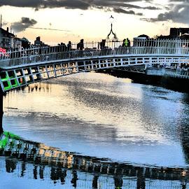Ha'Penny Bridge by Jimmy Fitz - Buildings & Architecture Bridges & Suspended Structures ( sky, ireland, dublin, reflections, photography, ha'penny bridge )