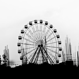 Ferris Wheel by Anindita Bhattacharya - City,  Street & Park  Amusement Parks ( amusement park, wheel, black and white, object, photography,  )