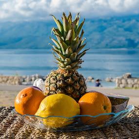 Healty breakfest near sea by Marija Kožul - Food & Drink Fruits & Vegetables ( orange, fruit, mountain, sea, pineapple, healty, lemon,  )