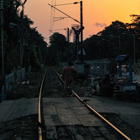 Train tracks  by Hrijul Dey - Transportation Railway Tracks ( wires, morning glory, sunrise, journey, dawn, railway, tracks )