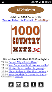 1000 Countryhits Player Screenshot
