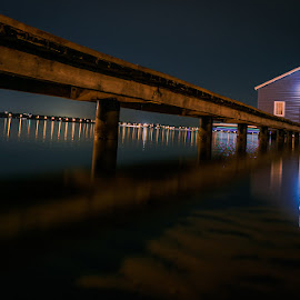 Boat house  by Shayne Sim - Buildings & Architecture Bridges & Suspended Structures ( night photography, perth by night, long exposure, boat house, nightscape )