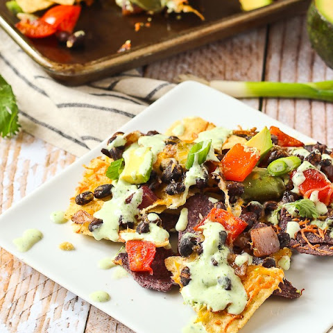 Vegetarian Nachos with Creamy Cilantro Lime Drizzle