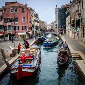 Venice street; Italy by Horizon Photo - City,  Street & Park  Street Scenes ( boat, italy, vencie, commerce )