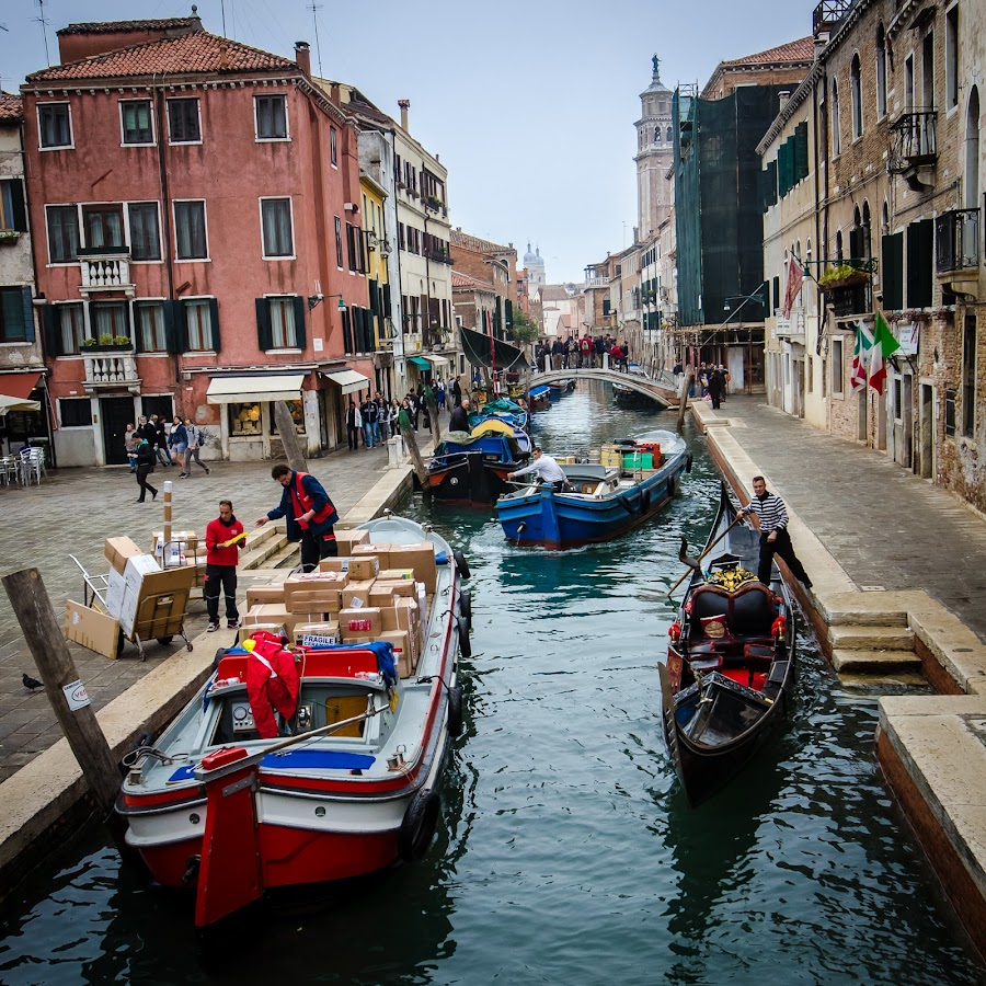 Venice street; Italy by Horizon Photo - City,  Street & Park  Street Scenes ( boat, italy, vencie, commerce )