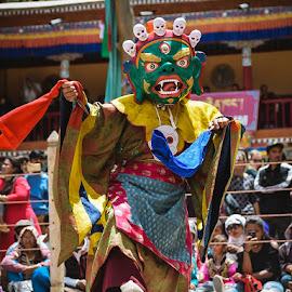 HEMIS FESTIVAL by Urgain Rangdol - People Musicians & Entertainers ( mask dance, hemis festival, himalaya, monastery, mask, holidays, high altitude, india, festival, ladakh, people )