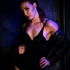 Hot in black by Paul Phull - People Portraits of Women ( jacket, body, lingerie, sexy eyes, beautiful, bule lighting )