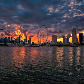 Blazing sunset! by Gordon Koh - City,  Street & Park  Skylines (  )
