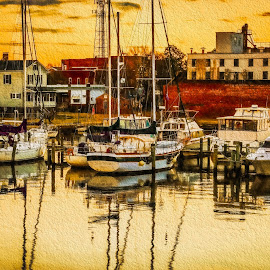 Washington Sunrise by Robert Mullen - Digital Art Places ( small town, washington, sailboats, sunrises, boats, buildings, town, sunrise, docks, waterfront, north carolina )