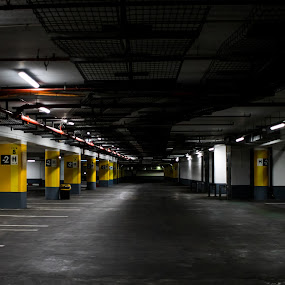 Dark Parking Lot by Maya Bar - Buildings & Architecture Other Interior ( parking lot, garage )