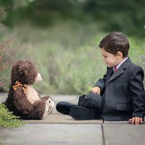 Important Meeting by Angel Solomon Caracciolo - Babies & Children Child Portraits ( bear, meeting, suit, toddler, boy )