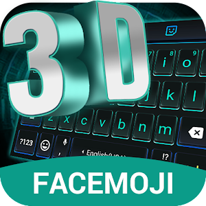 3D Neon Hologram Black Keyboard Theme