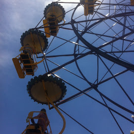 Up, up and away by Kim Pauly - Novices Only Objects & Still Life ( clouds, luna park melbourne, blue sky, fun, ferris wheel )