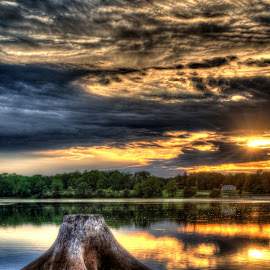 HDR Sunset by Jason Floren - Landscapes Sunsets & Sunrises ( hdr sunset water iowa )