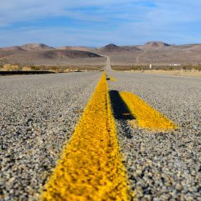 Desert road 2 by Mariusz Murawski - Landscapes Deserts ( clouds, mountains, sky, desert, road )