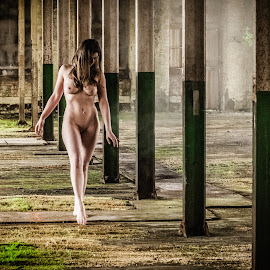 Walking the Walk by Ian Cartwright - Nudes & Boudoir Artistic Nude ( mill, dilapidated, nude, woman, naked, liberated ladies, abandoned )