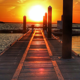 Long walk off a short pier by Ann Goldman - Novices Only Landscapes ( sunset, sundown, pier, hull )