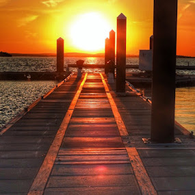 Long walk off a short pier by Ann Goldman - Novices Only Landscapes ( sunset, sundown, pier, hull,  )