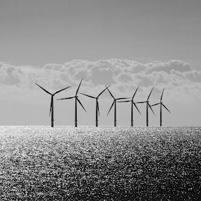 Windfarm at sea by Tommy  Cochrane - Products & Objects Industrial Objects ( clacton, wind, north sea, windfarm, turbine, essex, uk., sea, windmills )