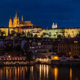 by Mario Horvat - City,  Street & Park  Night ( reflection, night, chatedral, prague, blue hour, water, lights )