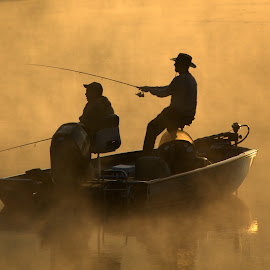 GOLDEN MOMENTS by Dana Johnson - Transportation Boats ( father and son, lake, transportation, fishing, morning, boat, golden )