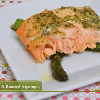 Easy 20-Minute Pesto Salmon Recipe w/ Roasted Asparagus