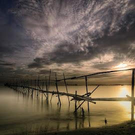 Endless bridge direct nowhere by Andrika Wijayanti - Landscapes Sunsets & Sunrises ( dawn, waterscape, beach, bridge, sunrise, morning, landscape )