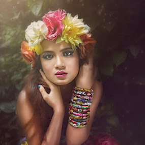 Ghina with flowers by Rifa Riza - People Portraits of Women