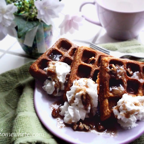 Pumpkin Spice Waffles with Maple Pecan Syrup