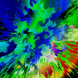 light flash by Edward Gold - Digital Art Abstract ( abstract art, blue, reds, greens, colorful, digital art, yellows )