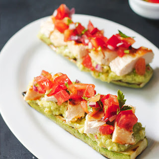 "Grilled Chicken Bruschetta on Zucchini ""Toast"""