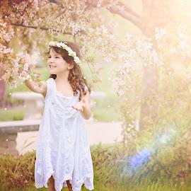 Garden Fairy by Darya Morreale - Babies & Children Children Candids ( cherry tree, girl, fairy, garden, blossoms )