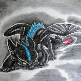 Toothless the Dragon by Valerie Aebischer - Drawing All Drawing ( httyd, how to train your dragon, toothless, night fury, dragon, dragons )