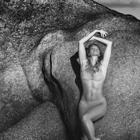 Paradise Lust by Mino Taurus - People Fine Art ( water, body, symbol, black and white, beautiful, beach, bikini, beauty, erotic, sexy, girl, figure, woman, outdoor, rocks )