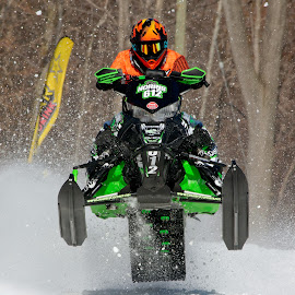 Snowmobile Race 3 by Peter K. Burian - Sports & Fitness Snow Sports ( competing, winter, snowmobile, racing, competitors, skidoo, sports, action, race )