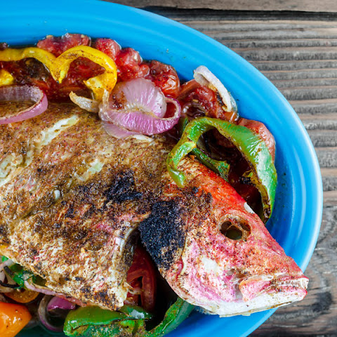 Mediterranean Roasted Red Snapper with Garlic and Bell Peppers