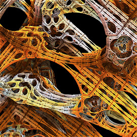 Build It and They May Not Come by Lyle Hatch - Illustration Abstract & Patterns ( abstract, girders, geonetric, mandelbulb 3d, fractal art, 3-d, surreal, fractal, rendering, three dimensional )