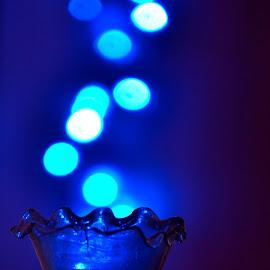 Magical lamp by Amrita Sharma - Abstract Light Painting ( lights, blue, magical, lamp, bokeh )