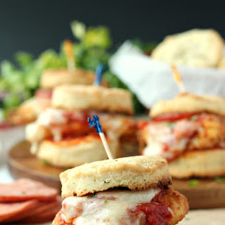 Chicken Pizziola Sliders on Garlic Herb Biscuits