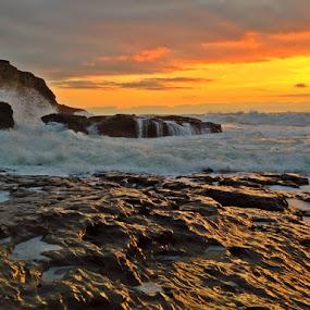 Obsidian Mirror by Derek Gibbins - Instagram & Mobile iPhone ( reflection, cliffs, sunset, ocean, beach )